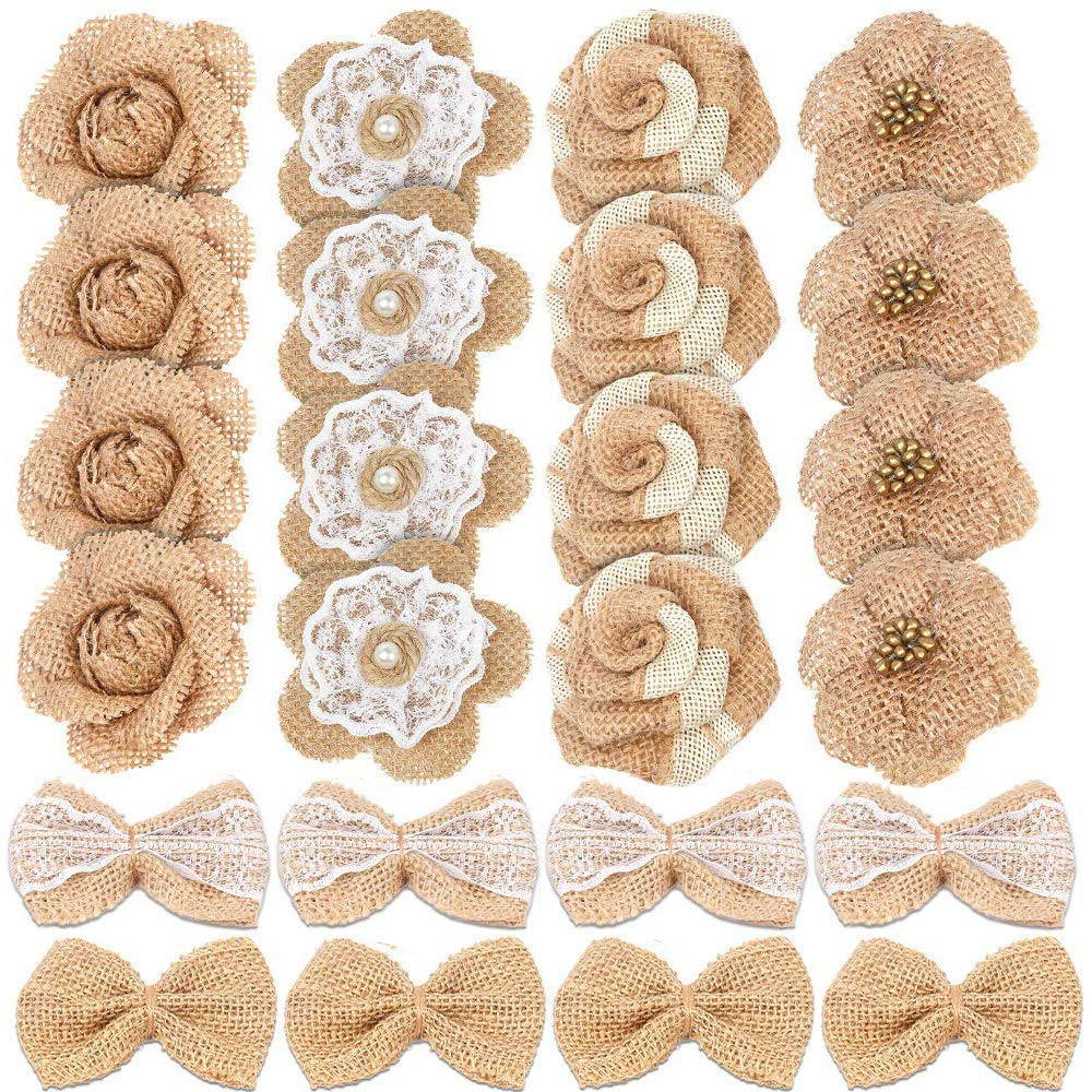 Yolyoo 24PCS Handmade Natural Burlap Flowers, Include Burlap Rose, Burlap Lace with Pearls, Burlap Hibiscus, Burlap Bowknot,for DIY Craft Bouquets Home Wedding Christmas Party Decoration