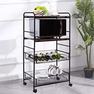 6-Tier Rolling Serving Cart, Microwave Stand Storage on Wheels, Utility Kitchen Cart Island Trolley with Wire Baskets