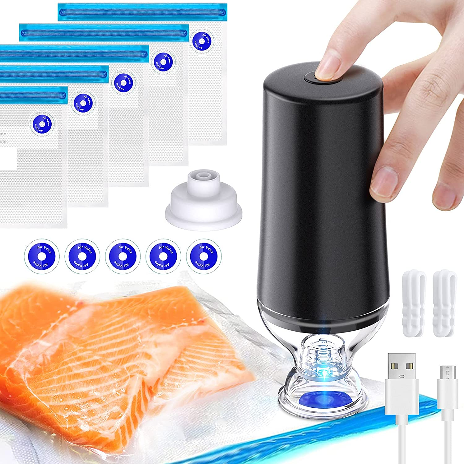 LORDSON Vacuum Sealer Handheld, Automatic Portable Food Saver Sous Vide Bags Rechargeable Air Sealing Machine for Food Cloth Storage Bags