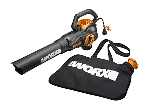 WORX WG512 Trivac 2.0 Electric 12-amp 3-in-1 Vacuum Blower Mulcher Vac, Black and Orange Renewed