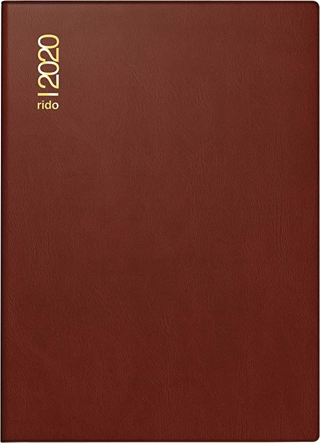 rido//id/é 701824229 Taschenkalender Technik III 1 Seite = 2 Tage, 100 x 140 mm, Schaumfolien-Einband Catana bordeaux, Kalendarium 2020