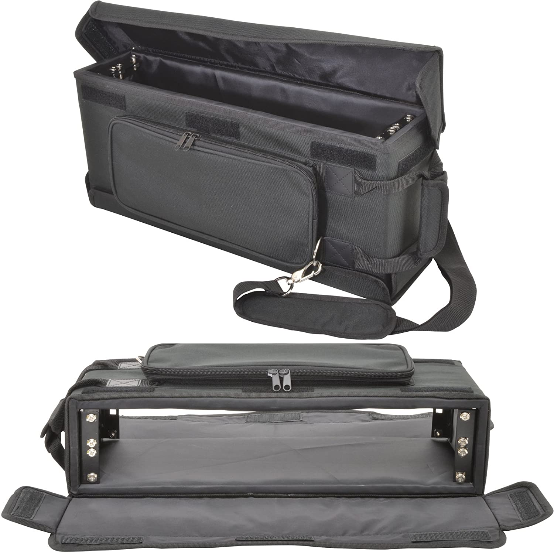 19 2U Shallow Rack Mount Transit Carry Bag - Patch Panel Case - DJ Mixer Audio Cablefinder 1520