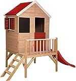 Casetta per bambini in legno su piattaforma per esterno | Giardino estivo Tipo aperto Casetta con finestra, persiane, lavagna, scaletta, scivolo, mezza porta