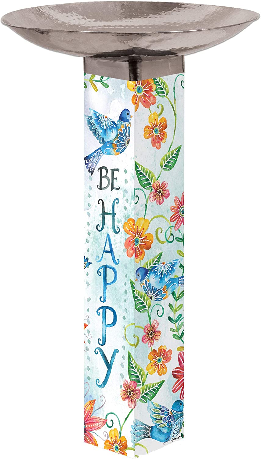 Studio M Happy Bluebirds Bird Bath Art Pole Hand-Hammered Stainless Steel Top, Hardware Included for Easy Installation, Printed in USA, 31 Inches Tall with 18 Inch Dia. Bowl
