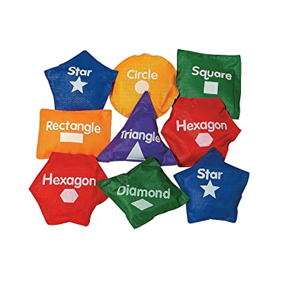 Fun Express Geometric Shaped Bean Bags-14 Pc - 14 Pieces - Educational and Learning Activities for Kids: Toys & Games