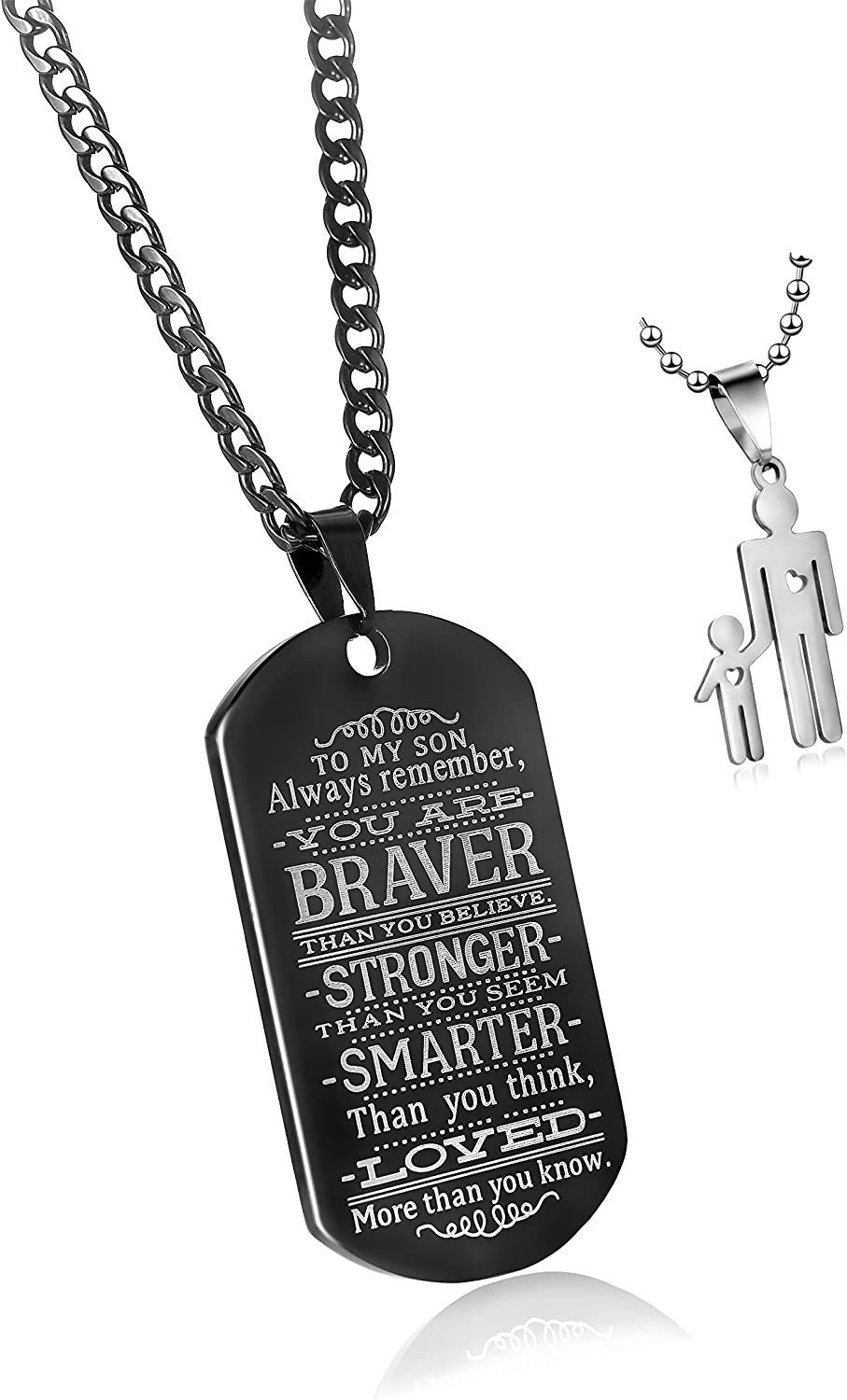CaleesLLC to My Son Always Remember You are Braver Than You Believe Quotes Black Dog Tags Pendant Necklace Love Gift