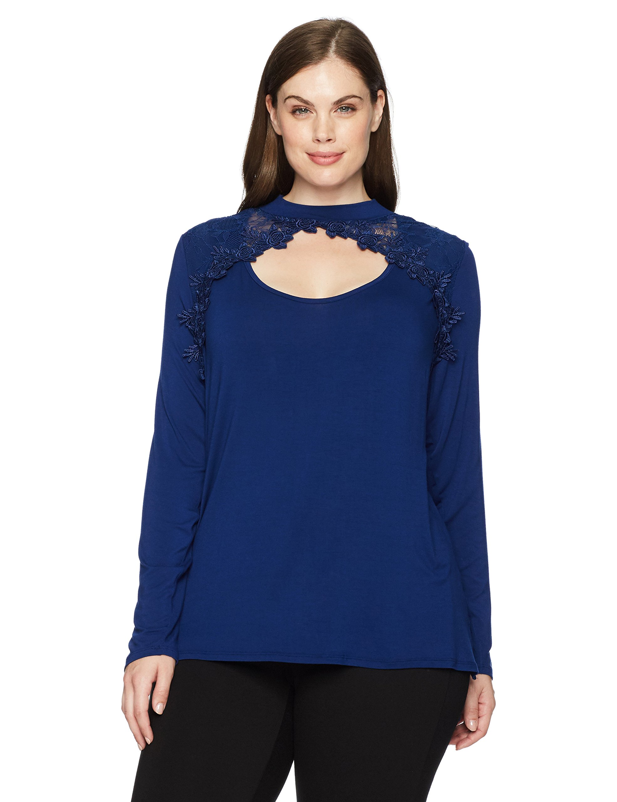 Love Scarlett Women's Plus Size Long Sleeve Novelty Lace Shoulder Mock Neck Knit Tee, Red Velvet Blue, 1X