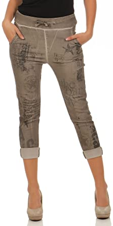 malito damen jeans mit muster hose mit strass stretch jeans im denim look - Jeans Mit Muster