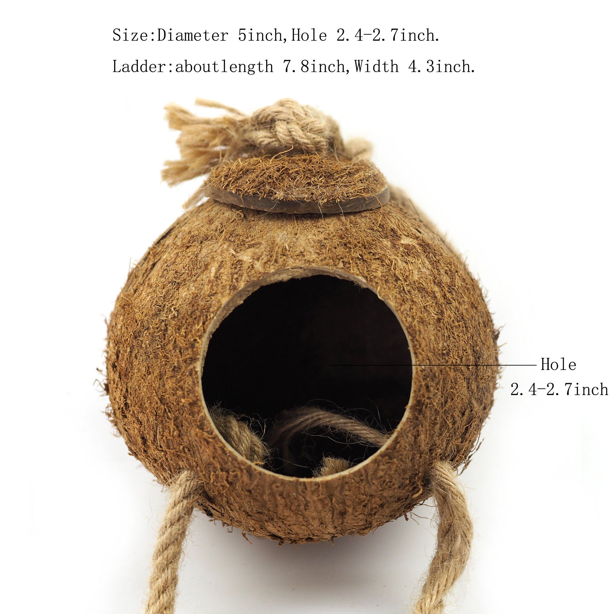 OMEM Coconut Shell Bird House,Hamster Cage and Hideouts with Ladder,Bird Cage Toy by OMEM (Image #2)