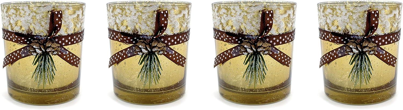 Moderner Teelichthalter Teelichtleuchte aus Keramik gold//braun Höhe 10 cm B 7 cm