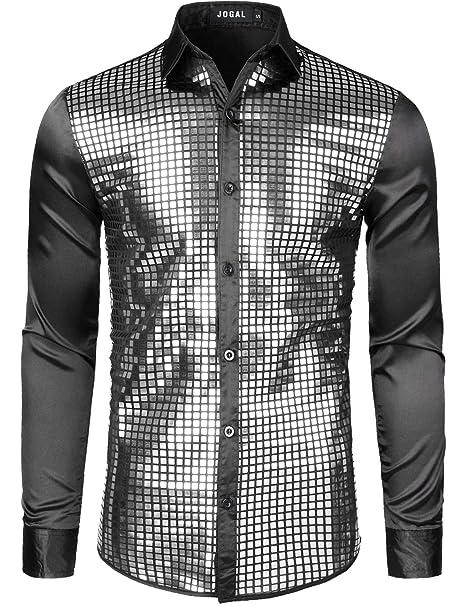 Vintage Dresses Australia- 20s, 30s, 40s, 50s, 60s, 70s JOGAL Mens Dress Shirt Silver Sequins Long Sleeve Button Down 70s Disco Shirt Party Costume AUD 44.37 AT vintagedancer.com