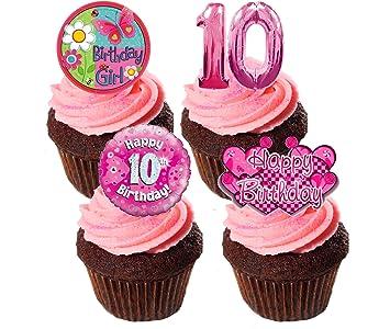 10 Geburtstag Madchen Essbare Cupcake Topper Pink Stand Up