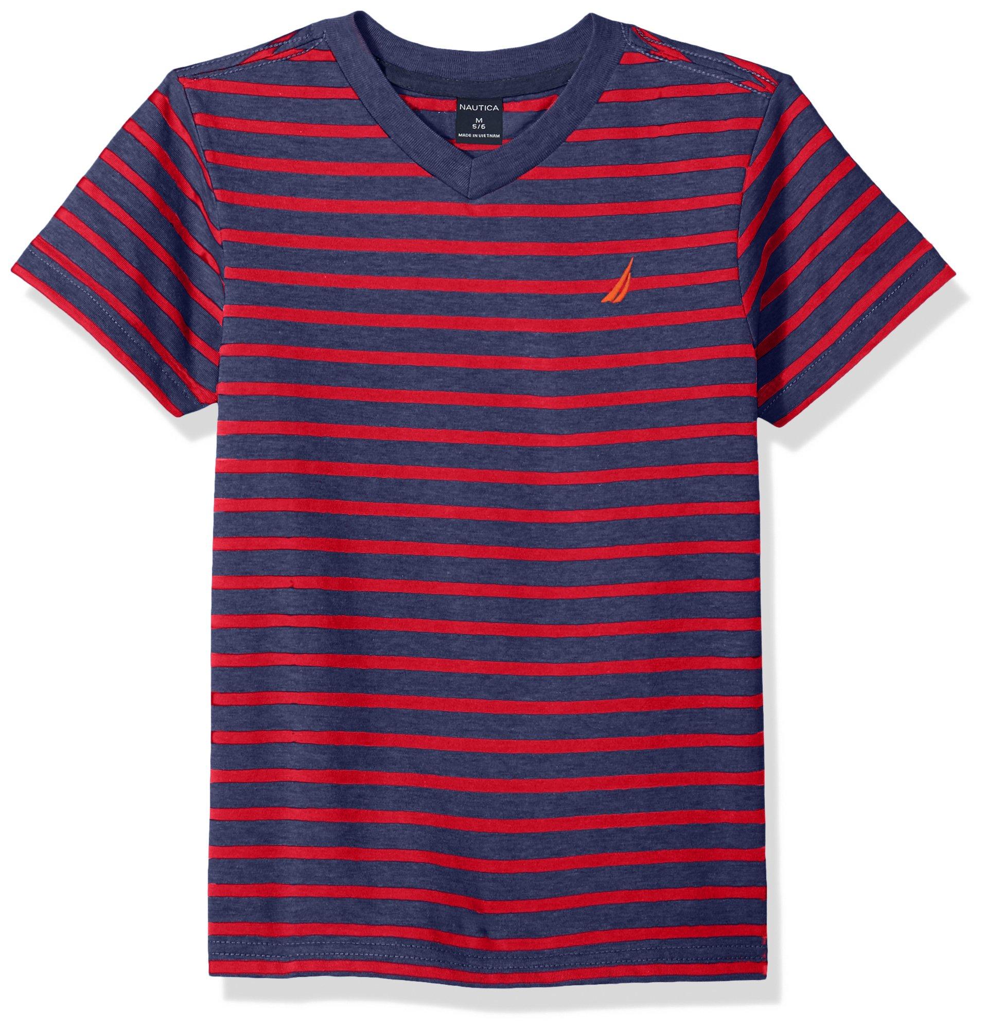 Nautica Big Boys' Short Sleeve Striped V-Neck T-Shirt, Brett Carmine, Large (14/16)