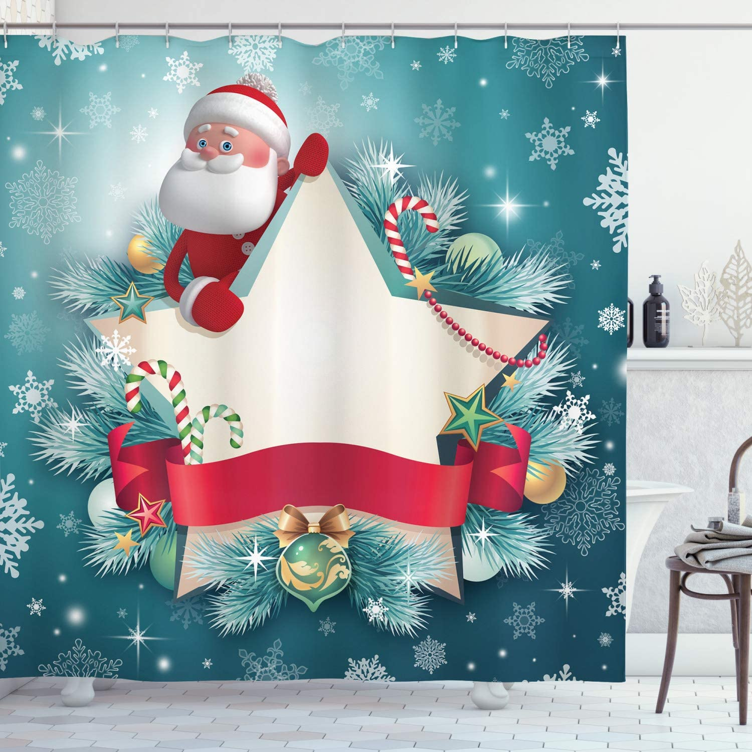Christmas Shower Curtain Colorful Jolly Times Print for Bathroom