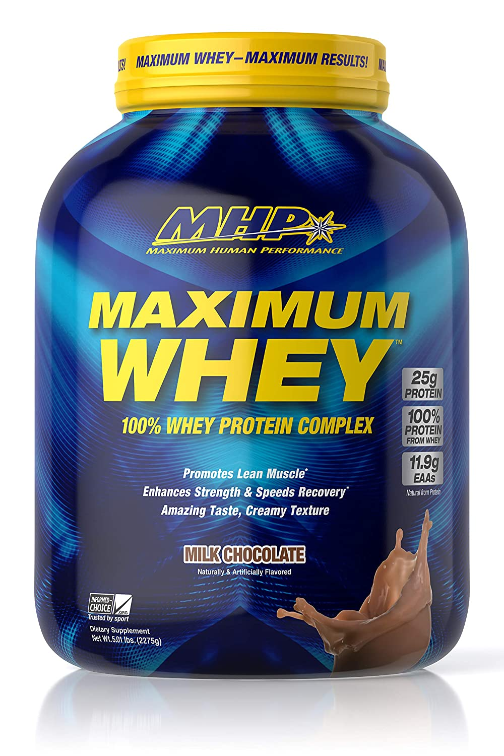 MHP Maximum Whey Protein, 25g Fast Acting Delicious Tasting Protein, Enhaces Strength Speeds Recovery, Milk Chocolate, 50 Servings