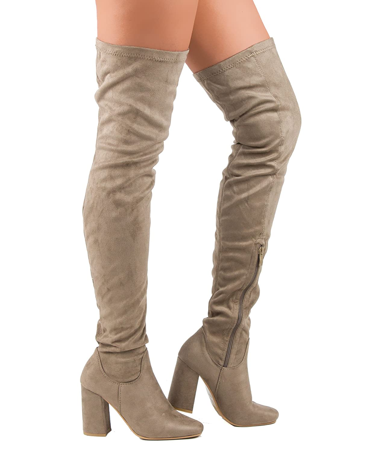 Amazon.com | FOREVER LINK FAUX SUEDE OVER KNEE HIGH HEEL BACK LACE ...