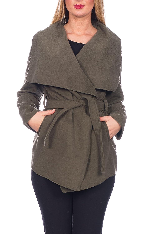 Kendindza Damen Mantel Trenchcoat mit Gürtel OneSize Lang und Kurz Beige Kurz)