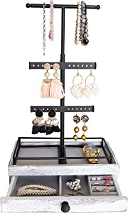 Tower Jewelry Organizer w/ Wooden Drawer Storage Box & Adjustable Necklace Holder – Jewelry Organizer Stand for Bracelets, Earrings & More – Rustic White Drawer & Black Iron – Free-Stand or Wall-Mount