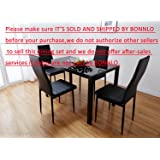 Bonnlo Modern 5 Pieces Dining Table Set Glass Top And Chair For 4