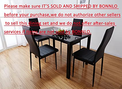 Amazoncom Bonnlo Modern Pieces Dining Table Set Glass Top - Cheap glass top dining table set