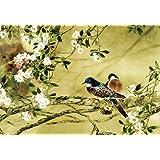 Mail Order Online Ltd - Dipinto orientale su tela A1, motivo prugno in fiore con uccellini