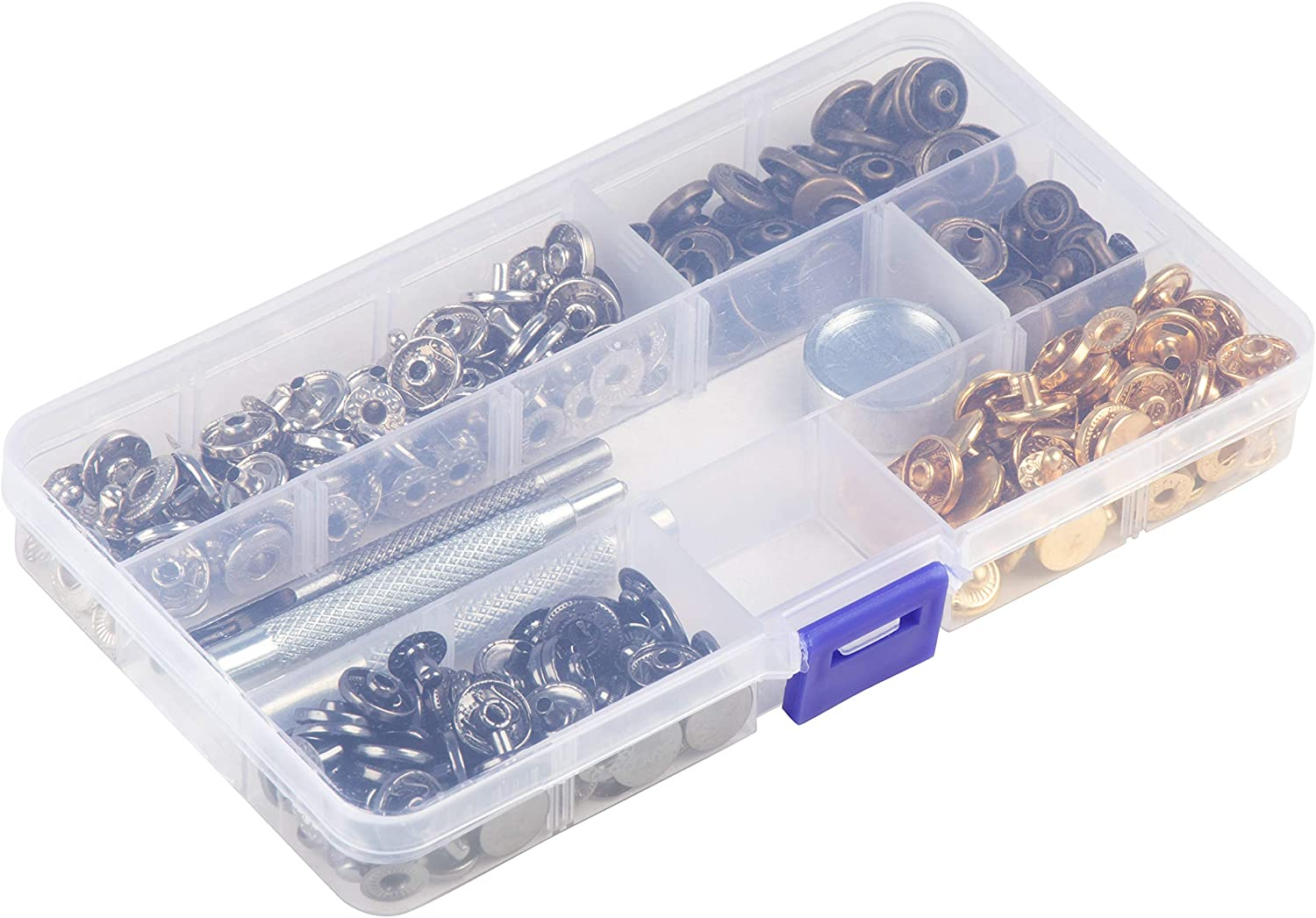 4 Colors with 4-Piece Tools Jeans 9 mm Bags Clothing Snaps Craft for Leather Repairing 12 mm Diameter 160-Piece Snap Buttons Metal Snaps Press Studs Snap Fastener Kit Coat