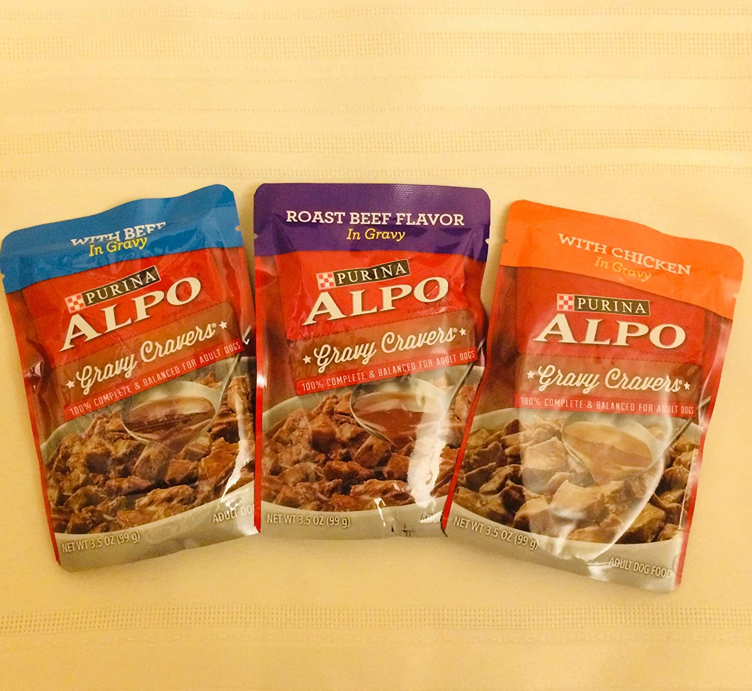 Purina ALPO Adult Dog Food, Gravy Cravers Beef, Chicken and Roast Beef Variety 2-12 Count Boxes (Total of 24 Pouches)