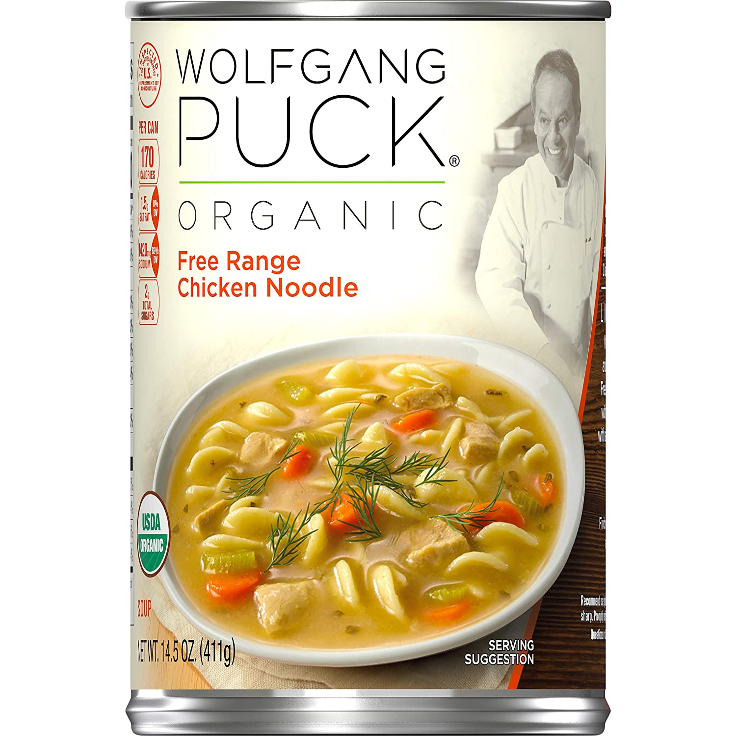 Wolfgang Puck Organic Free Range Chicken Noodle Soup, 14.5 oz. Can (PACK OF 12)
