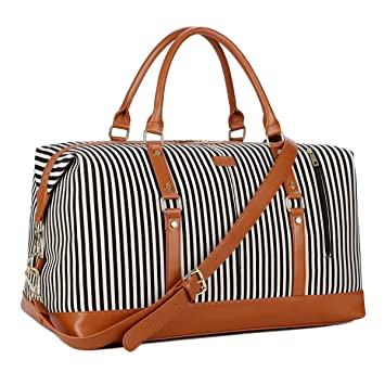 d06bea936c3 Amazon.com   BAOSHA HB-14 Canvas Travel Tote Duffel Bag Carry on Weekender  Overnight Bag Oversized for Women and Ladies (Black Strips)   Travel Totes