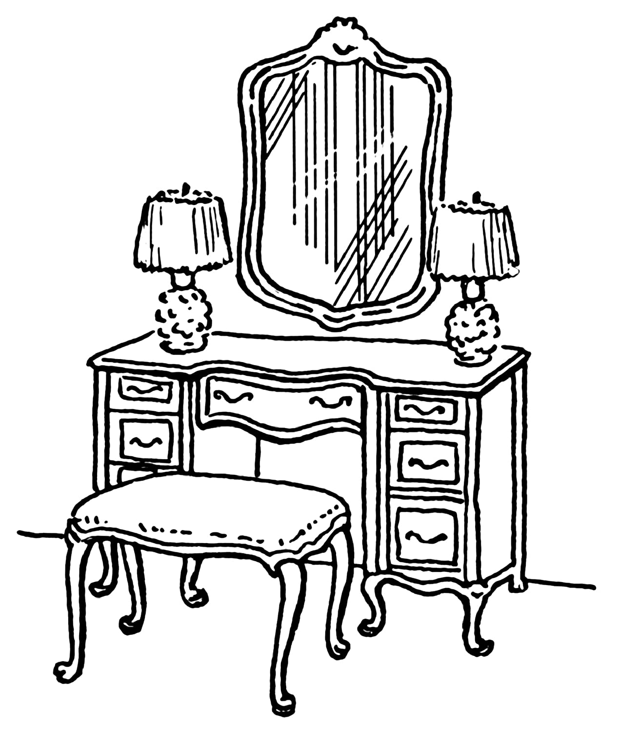 dresser clipart black and white. clear window cling 14cm x 10cm line drawing dressing table: amazon.co.uk: kitchen \u0026 home dresser clipart black and white