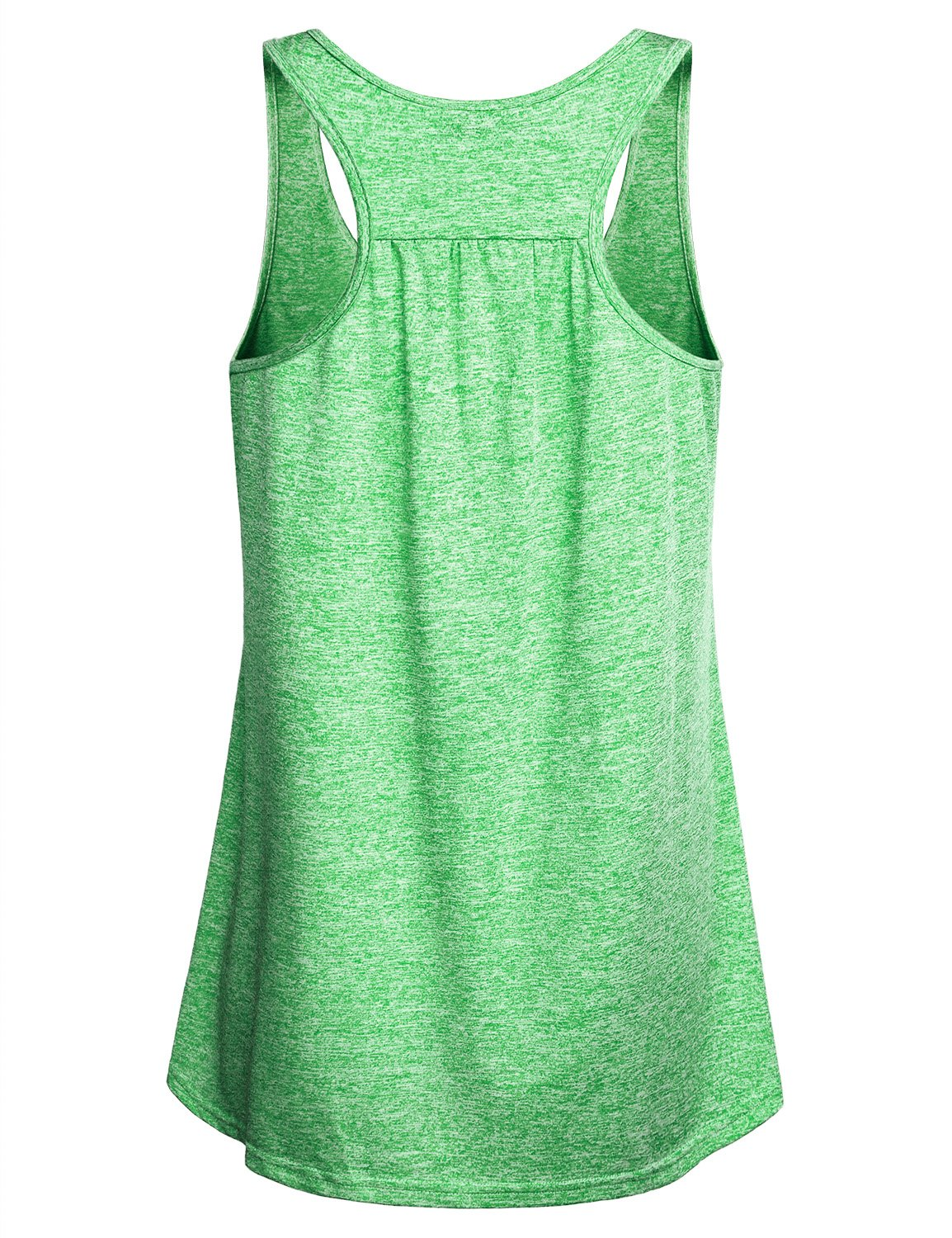 Miusey Gym Clothes for Women Ladies Sleeveless Exercise Athletic Swing Activity Crew Neck Basic Comfortable Lightweight Workout Racerback Tank Tops Green M by Miusey (Image #2)