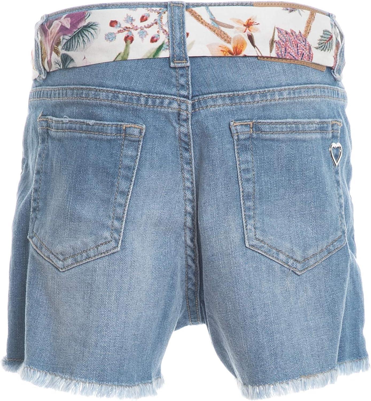Please Shorts Jeans Bambina Denim Washed Blu