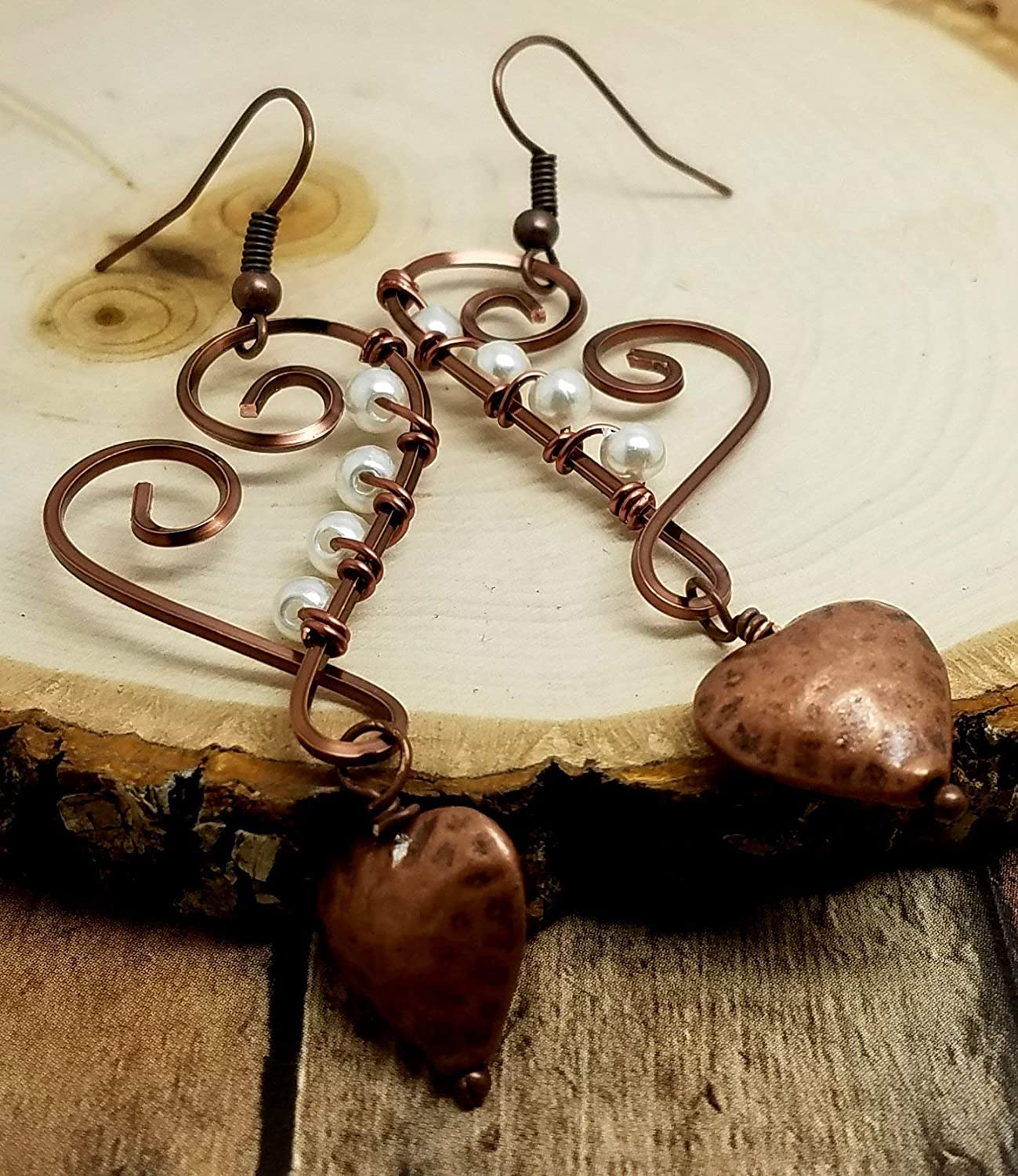 Hypoallergenic titanium ear wires Dimple 7th wedding anniversary Copper hammered texture heart dangle earrings