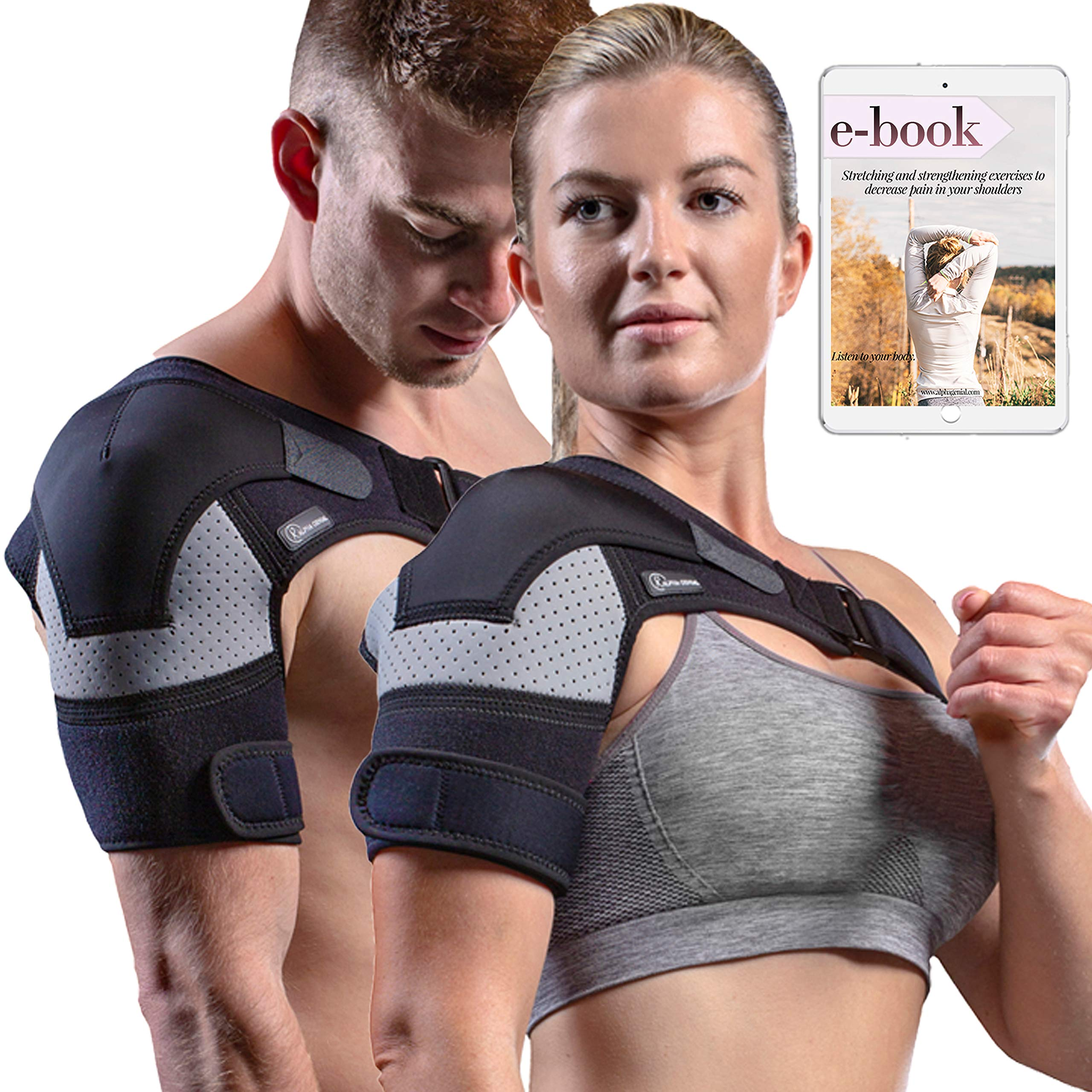 Shoulder Brace - Rotator Cuff Pain Relief Support for Men and Women, with Adjustable Belt and Sleeve, Pressure Pad for hot or ice Pack for Shoulder Impingement Syndrome, Tendonitis, Arthritis