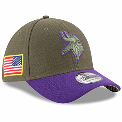 36ea39576e2 New Era 39Thirty Hat Minnesota Vikings NFL On-field Salute to Service Flex  Cap (