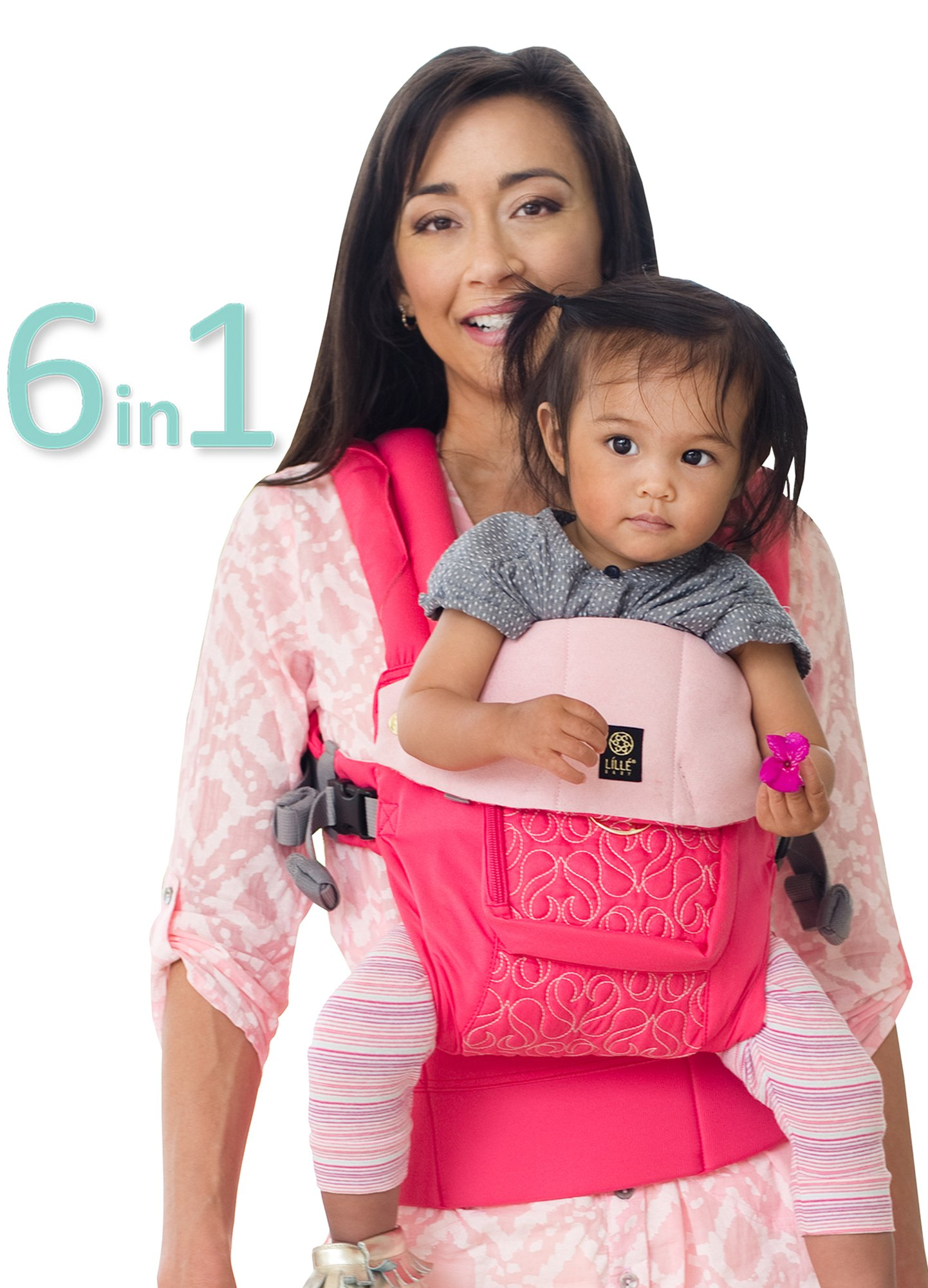 SIX-Position, 360° Ergonomic Baby & Child Carrier by LILLEbaby - The COMPLETE Embossed LUXE (Pink Ribbon)