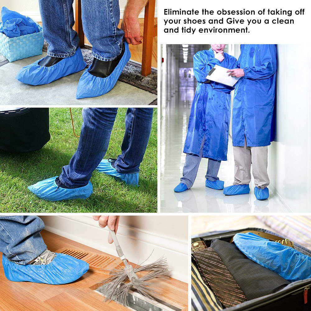 Shoe Covers, Disposable Shoe Covers - Durable, non-toxic, Recyclable Disposable Boot One Size Fits Most, Indoor - Outdoor Boot Covers Perfect for Medical Use, Housekeeping, Real Estate (100 Piece) by aubess (Image #5)