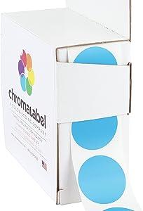 ChromaLabel 1 Inch Round Permanent Color-Code Dot Stickers, 1000 per Dispenser Box, Light Blue