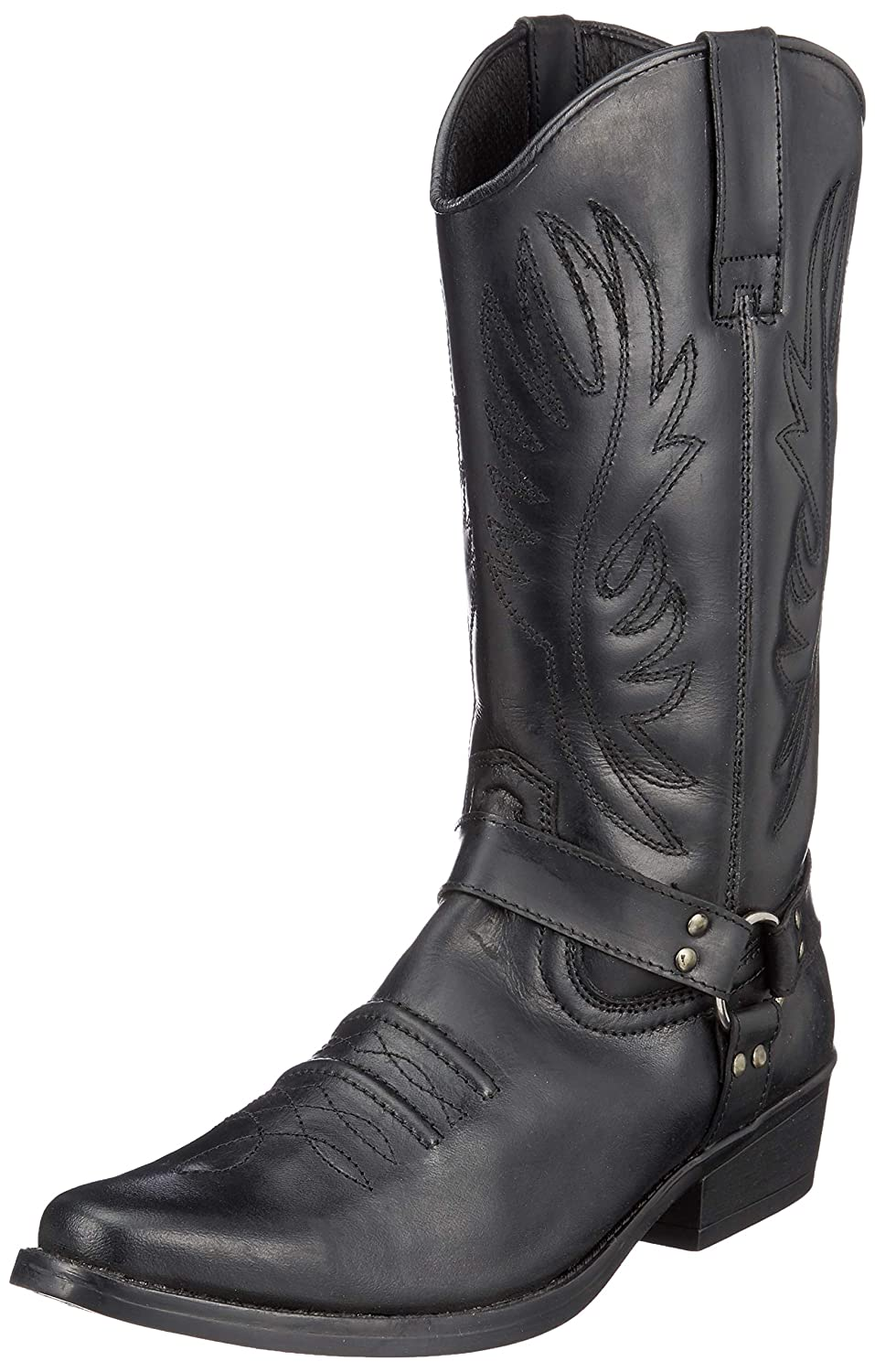 Mens Leather Cowboy Pull On Western Harness Cuban Heel Smart Ankle Boots UK 6-13
