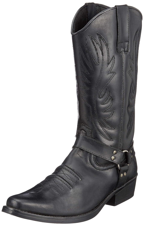 SchwarzHerren Leder Cowboy-Ziehen Auf der westlichen Langen kubanischen Ferse Smart Knöchel Stiefel EU40-47