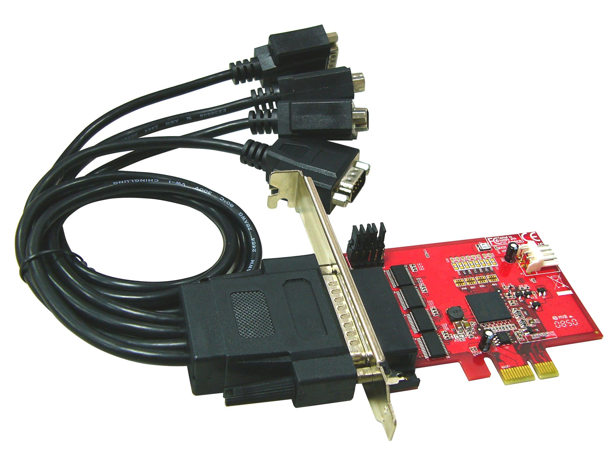 Ableconn PEX4S-954 4 Port RS232 PCI Express Serial Adapter Card with Power Output and 16950 UART (OXPCIe954 Chipset) - Optional 5V Power Output on Pin9 of DB9