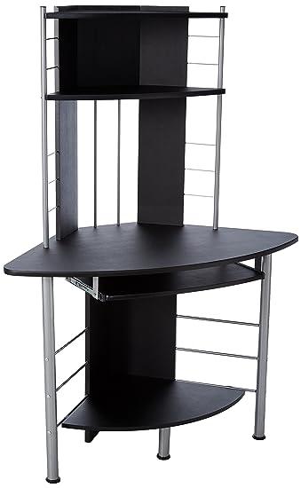 homcom 45 arch tower corner computer desk black