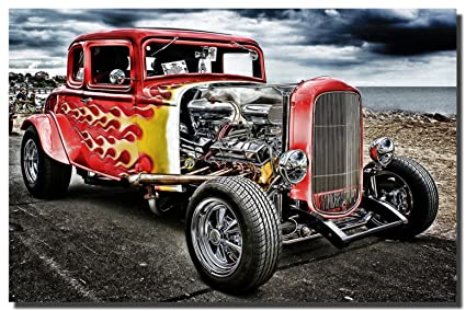 Amazon.com: Hot Rod Vintage Cars Canvas Wall Art Beautiful Picture ...