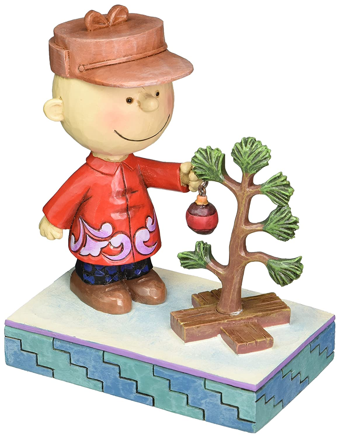 """5/"""" Peanuts by Jim Shore Charlie Brown with Christmas Tree Stone Resin Figurine"""