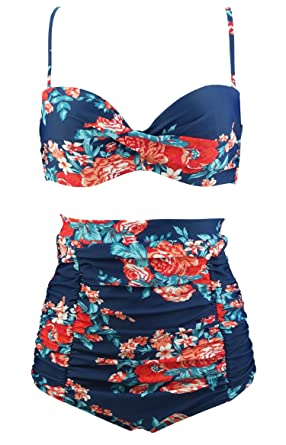 967509e7d5 COCOSHIP Red Pink   Navy Blue Antigua Floral High Waisted Bikini Twist Top  Vintage Bathing Suit