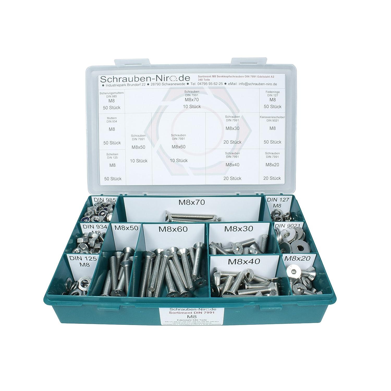 ISO 10642 DIN 125, 127, 9021 - 1200 Teile Unterlegscheiben Senkschrauben V2A M4 DIN 7991 DIN 934, 985 - Set bestehend aus Schrauben und Muttern Innensechskant Sortiment M3 Edelstahl A2