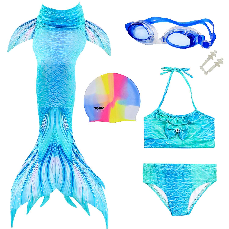 Mayskey Mermaid Tails Swimming Party Girls Kids Mermaid Tails Swimming Goggles Swimming Caps(130 (8-10 Years,Blue Green)