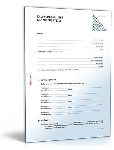 Kaufvertrag Kfz Zubehörteile Pdf Download Amazonde Software