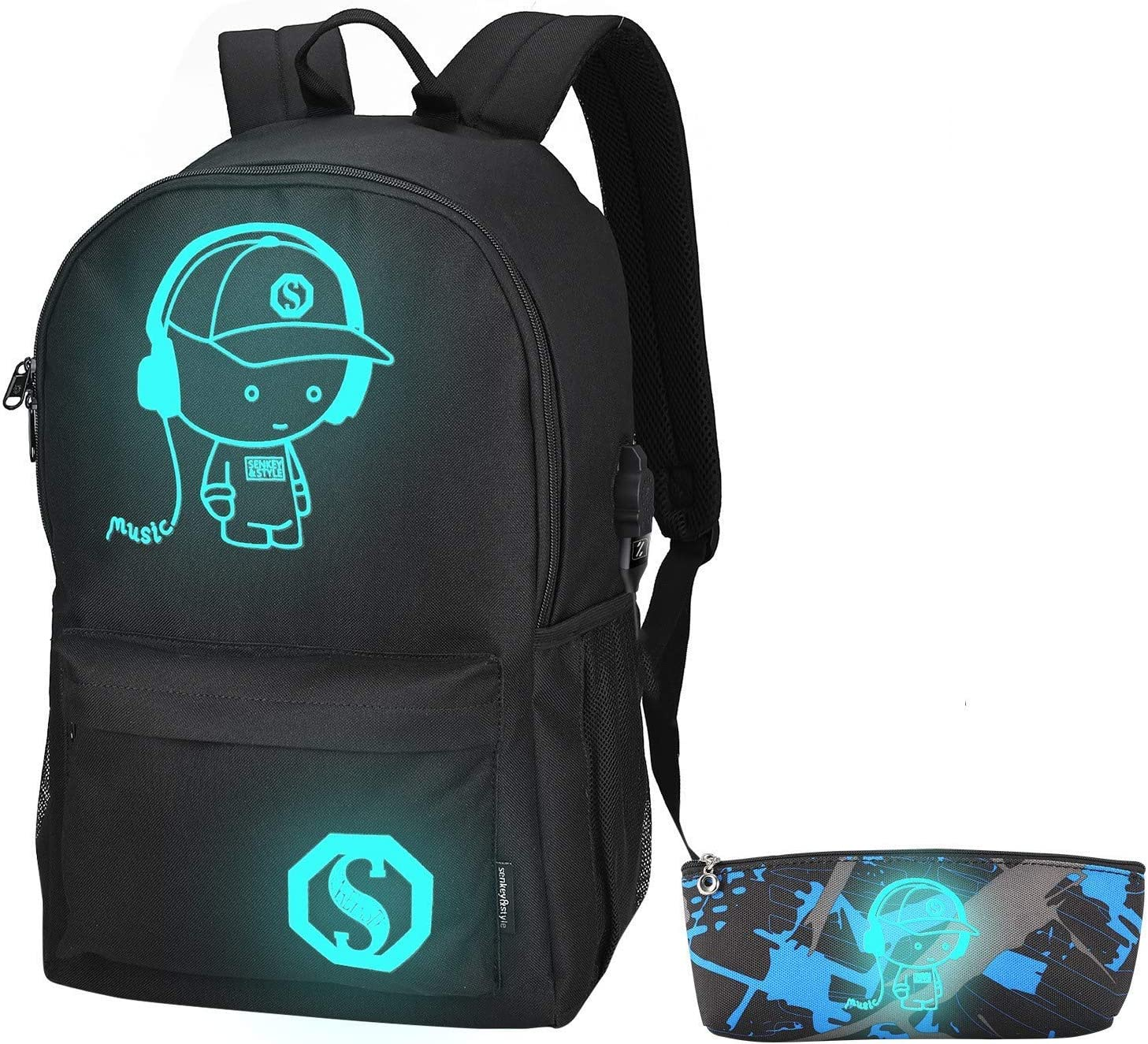 Anime Luminous Backpack, School Backpack Casual Daypack for, Black, Size Large