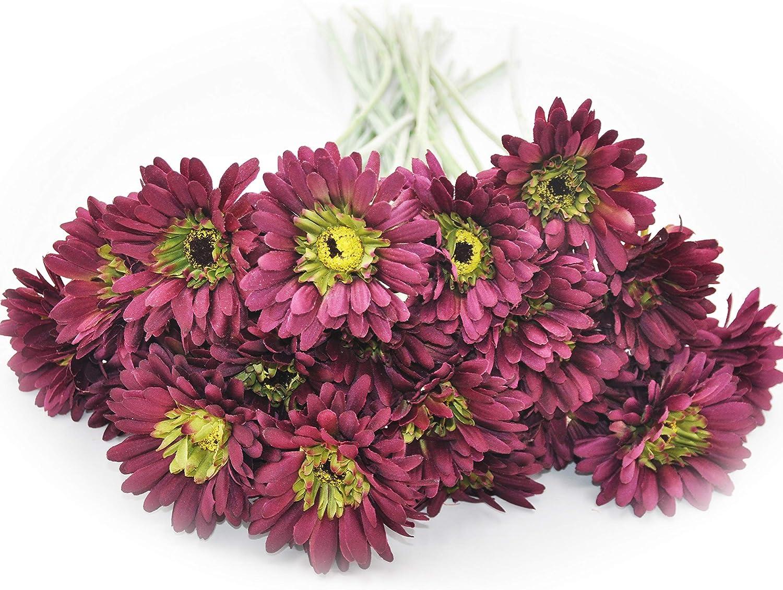 cn-Knight Artificial Flower 12pcs 22'' Long Stem Silk Daisy Faux Mums Flower Chrysanth Gerbera for Wedding Bridal Bouquet Bridesmaid Home Decor Office Baby Shower Prom Centerpiece(Magenta)